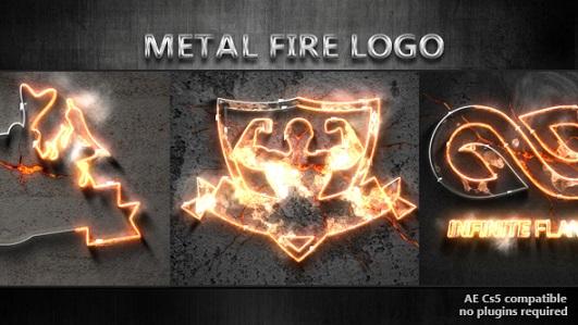 نمایش لوگوی آتش و فلز مذاب